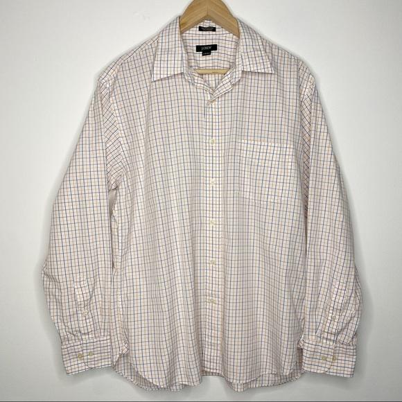J. Crew 2-Ply Cotton Button Down Dress Shirt   L